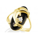 New 14k Yellow Gold Dolphin CZ Black Onyx Women's Ring