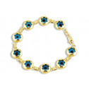 14k Solid Gold Blue Evil Eye Bead Flower Links Bracelet