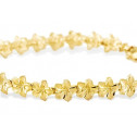 Ladies 14k Yellow Gold Hawaiian Lei Flower Bracelet
