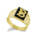 14k Yellow Gold Letter B Initial Black Onyx Mens Ring