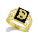 14k Yellow Gold Letter D Initial Black Onyx Mens Ring