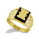 14k Yellow Gold Letter H Initial Black Onyx Mens Ring