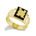 14k Yellow Gold Letter M Initial Black Onyx Mens Ring