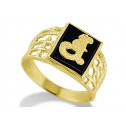 14k Yellow Gold Letter J Initial Black Onyx Mens Ring