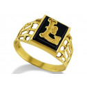 14k Yellow Gold Letter L Initial Black Onyx Mens Ring