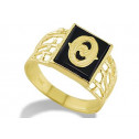 14k Yellow Gold Letter O Initial Black Onyx Mens Ring