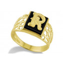 14k Yellow Gold Letter R Initial Black Onyx Mens Ring