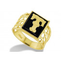 14k Yellow Gold Letter T Initial Black Onyx Mens Ring