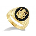 New 14k Yellow Gold Jesus Cross Anchor Onyx Nugget Ring