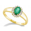 Solid 14k Yellow Gold .15ct Diamond Oval Emerald Ring