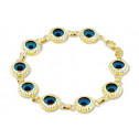 14k Yellow Gold Blue Glass Beaded Evil Eye Bracelet