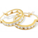 14k Yellow Gold Round Solid CZ Heart Band Hoop Earrings