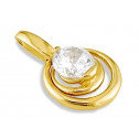 Solid 14k Yellow Gold Round CZ Solitaire Spiral Pendant