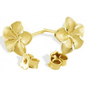 Solid 14k Yellow Gold Hawaiian Flower Stud Earrings