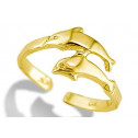 14k Yellow Gold Two Dolphin Swimmers Bypass Toe Ring