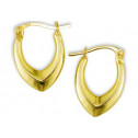 14k Yellow Gold Solid Polished Open V Hoop Earrings