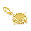 14k Yellow Italian Gold Puffy Sun Shine Smile Pendant