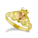 New 14k Yellow Rose Gold Claddagh Irish Love Heart Ring