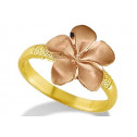 New 14k Yellow Rose Gold Plumeria Flower Hawaiian Ring