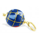 14k Yellow Gold World Globe Blue Red Enamel Pendant