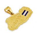 Solid 14k Yellow Gold El Salvador Country Flag Pendant