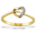 New 14k Yellow Gold .03ct Diamond Heart Fashion Ring