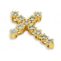 14k Yellow Gold 0.12 Ct Round Diamond Cross Pendant