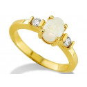 Women's 14k Solid Yellow Gold 0.14ct Diamond Opal Ring