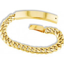 Mens 14k Solid Gold Cuban Chain Engraveable ID Bracelet
