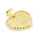 Solid 14k Yellow Gold #1 Mom Love Heart Flower Pendant