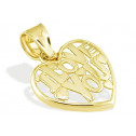 Solid 14k Yellow Gold I Love You Open Heart Pendant