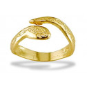 14k Yellow Gold Solid Bypass Detailed Snake Toe Ring