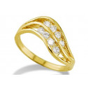 New Women's 14k Yellow Gold Wave Round CZ Fashion Ring