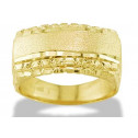 Solid Brushed 14k Yellow Gold Men's Nugget Square Ring