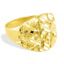 Diamond Cut Solid 14k Yellow Gold Mens Nugget Band Ring
