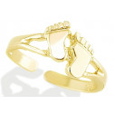 14k Yellow Gold Footprint Bare Foot Polished Toe Ring