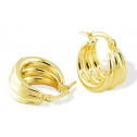 Solid 14k Yellow Gold Triple Puffy Round Hoop Earrings
