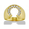 New Solid 14k Yellow Gold Horseshoe Round CZ Mens Ring