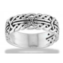 Men's Solid Silver Medieval Rope Braid Tribal Band Ring