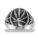 925 Sterling Silver Marijuana Leaf Vintage Men's Ring