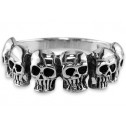 New Mens Solid 925 Sterling Silver Skull 10mm Band Ring