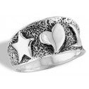 New  Sterling Silver Star Heart Moon Mesh Band Ring