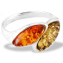 New  .925 Sterling Silver Amber Marquise Fashion Ring