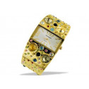 Ladies Multicolor CZ Gold Tone Wide Bangle Cuff Watch