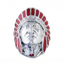 Red Enamel 925 Silver Native American Mens Indian Head Ring