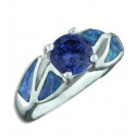 .925 Sterling Silver Round Cut Blue CZ Diamond Opal Ring