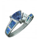 .925 Sterling Silver Blue Trilliant CZ Diamond Opal Ring