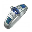 .925 Sterling Silver Blue Marquise CZ Diamond Opal Ring