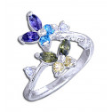 .925 Sterling Silver Multicolor Diamond CZ Stone Butterfly Toe Ring