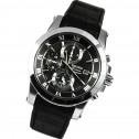 Seiko Premier Chronograph Black Dial Stainless Steel Black Leather Mens Watch SNAF31P2